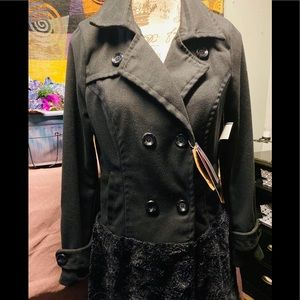 NEW Yoki Wool Blend Peacoat with faux fur skirt S